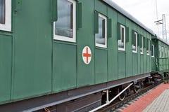 操作医院列车的汽车 rai新西伯利亚博物馆  图库摄影