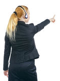操作员妇女指向 免版税库存照片