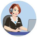操作员电话中心在工作 3d背景图标查出的对象白色 与医疗热线服务电话操作员佩带的紧急概念 向量例证