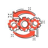 操作在可笑的样式的项目象 齿轮过程传染媒介在白色被隔绝的背景的动画片例证 技术产物 库存例证