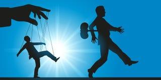 操作在工作场所,当职员作为机器人或木偶 皇族释放例证