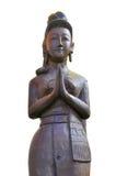 操作是玩偶招呼的泰国木的 免版税库存照片
