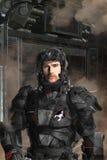 操作未来派战士的黑色 免版税库存照片