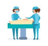 操作的工作者,采取在桌上的患者,互相帮助 皇族释放例证