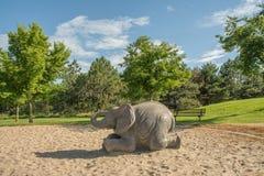 操场大象 免版税库存照片