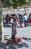 操纵傀儡的人, Southbank市场,墨尔本,澳大利亚 免版税库存图片