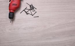 操练与在地板上的螺丝与拷贝空间 图库摄影