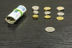 擦亮一兹罗提在b其他硬币和卷背景中  免版税库存图片