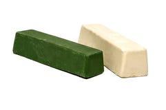 擦亮的抛光的复合蜡砖绿色和白色 库存照片