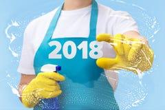 擦净剂显示第2018年 免版税库存图片