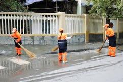 擦净剂街道转移 免版税库存照片