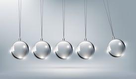 攀爬设计元素的,传染媒介例证玻璃牛顿摇篮 库存例证