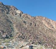 攀登陡峭的岩石斜面的愚蠢游人 免版税库存照片