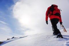 攀登在冬天季节的登山家多雪的山峰 免版税库存照片