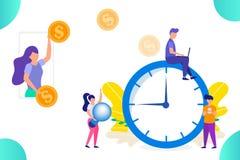 支付金钱在时间和工作,收入的概念,做金钱,人工作 库存照片