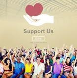 支持我们福利救济志愿捐赠概念 免版税图库摄影
