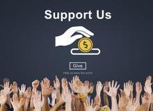 支持我们金钱志愿捐赠概念 免版税图库摄影