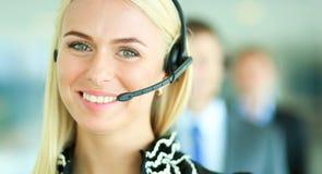支持有耳机的电话操作员画象  免版税库存图片