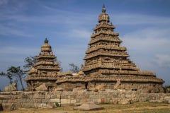 支持马马拉普拉姆,泰米尔纳德邦,印度寺庙  库存照片