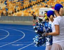 从支持组体育场的女孩 库存图片