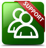 支持组象绿色正方形按钮 库存图片