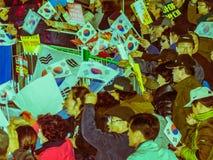 支持Park枪总统Hye的人集会 免版税图库摄影