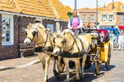 支架乘驾通过济里克泽,西兰省在荷兰 库存图片