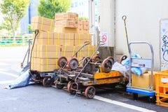 支架台车在Tsukiji鱼市上在Tsukiji,东京,日本 免版税库存照片