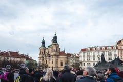 支架捷克被画的马老布拉格共和国正方形城镇 免版税库存图片