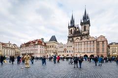 支架捷克被画的马老布拉格共和国正方形城镇 免版税库存照片