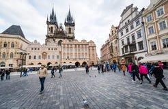 支架捷克被画的马老布拉格共和国正方形城镇 图库摄影
