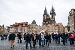 支架捷克被画的马老布拉格共和国正方形城镇 免版税图库摄影
