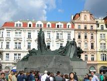 支架捷克被画的马老布拉格共和国正方形城镇 库存图片