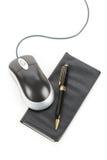 支票簿计算机鼠标 免版税库存图片