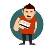 支付与他的信用卡的年轻人 图库摄影