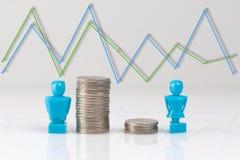 收入与小雕象和硬币的不平等概念 免版税图库摄影