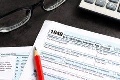收入税单联邦税务局1040 免版税库存照片