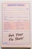 收到您的流感预防针重要消息 免版税库存图片