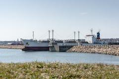 收帆水手离开新贝德福德的珠穆琅玛海湾 库存图片