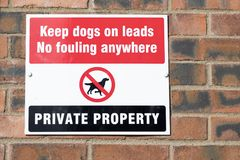 收留狗不带领弄脏的私有财产标志 库存照片