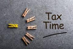 收税定期的矮小的木别针与需要的通知归档纳税申报,报税表 库存照片