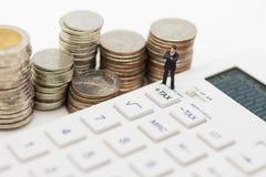 收税演算每年大家,使用作为企业财务概念 免版税图库摄影