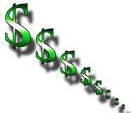 收缩的美元 库存图片