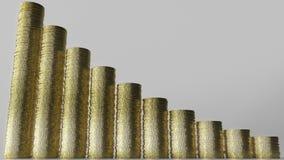 收缩的长条图由硬币堆做成 企业衰落或越来越少的储款3D翻译 库存照片
