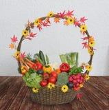 收获与新鲜蔬菜的篮子 库存图片