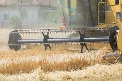 收获与联合收割机的大麦 免版税库存照片