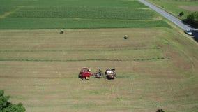 收获他的与4匹马和现代设备的门诺派中的严紧派的农夫庄稼 股票录像