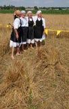 收获传统上开始集合村民,唱歌和跳舞和好食物 免版税库存图片
