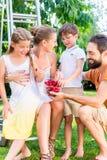收获和吃樱桃的家庭在庭院里 免版税库存照片