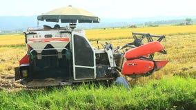 收获在领域的农夫米由机器 股票录像